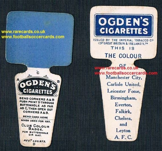 1909 Ogden Club Colour Badge card Birmingham Everton Chelsea ManC Carlisle Leicester Falkirk